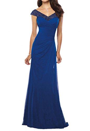 Royaldress Royal Blau Chiffon Abendkleider Ballkleider Formalkleider fuer Hochzeitsgaester Lang schmaler schnitt Royal Blau