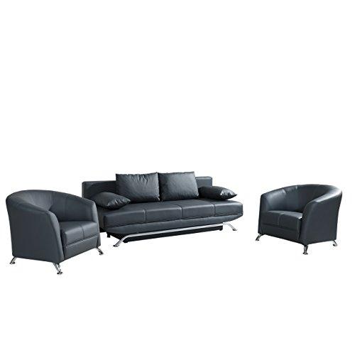 Polstergarnitur Olier, Design Sessel und Sofa mit Bettkasten und Schlaffunktion, Modernes Bettsofa, Couch, Polstermöbel Cocktailsessel (Soft 020)