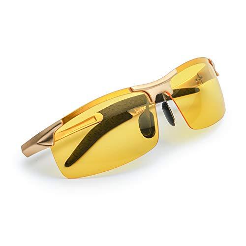 Myiaur HD Gelben Nachtsichtbrille Autofahren Sport Heiß Stil Polarisiert für Herren mit Ultra Leicht Metallrahmens Entspiegelten Sonnenbrillen - 100{cb2e8224cc310aedfeac4e6791f8994dd1f4bbaa347743f1581f1a5783c9bc5d} UVA UVB Schut