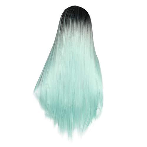 Waselia - Perücke, Minzgrün, gewellt, mit Spitze vorne, klebefrei, lang, blond, Kunsthaar, Mittelscheitel, wellig, für Frauen, hitzebeständig, Long Lace Front Wigs Heat Resistant Fiber ()