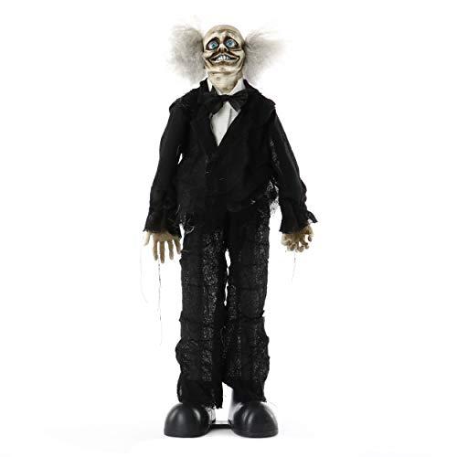 knuellermarkt24.de Halloween Zombie-Figur verrückter Clown ca. 75 cm mit Animation Party Deko Blaue Augen verbiegbare Arme Halloween-Party Batteriebetrieben 3X 1,5 AA Butler Fliege Kunststoff