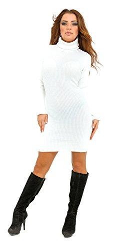 Glamour Empire. Donna Vestito aderente lavorato a maglia a coste collo alto 417 Bianco