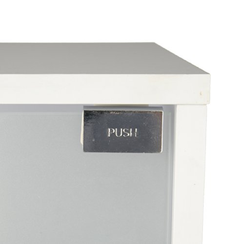 Waschbeckenunterschrank schlicht in weiß mit Glastür - 5