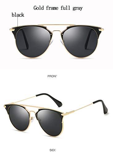 ZJWZ Trendige koreanische Sonnenbrille Mode Männer und Frauen Sonnenbrille Flut Sonnenbrille,Gold,fullgray