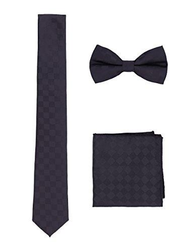 WANYING Herren 6cm Schmale Krawatte & Fliege & Einstecktuch 3 in 1 Sets Einfach Schick Classic Modern - Schwarz Kariert