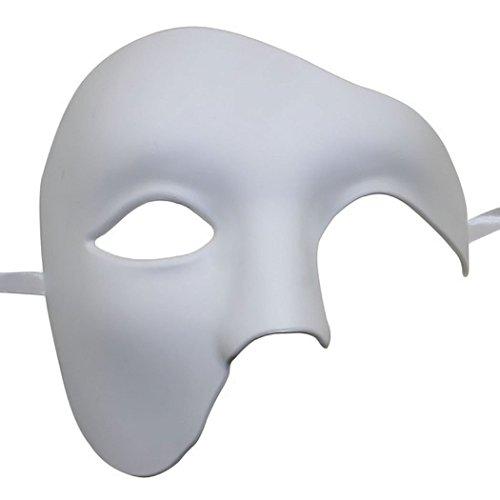 Kapmore Venezianische Maske Herren Maskerade Maske Phantom der Oper Maske Maskenball Maske Kostüme Karneval Party Halloween (Weiß) (Kombiniert Kostüm)