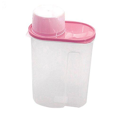 Bodhi2000 Plastique avec couvercle hermétique, idéal pour les aliments secs comme céréales, riz, pâtes, etc., Plastique, rose, 1.9L