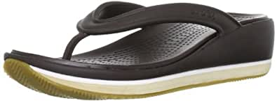 Crocs Retro Flip Wedge, Women's Sandals, Espresso/Chai, 2 UK
