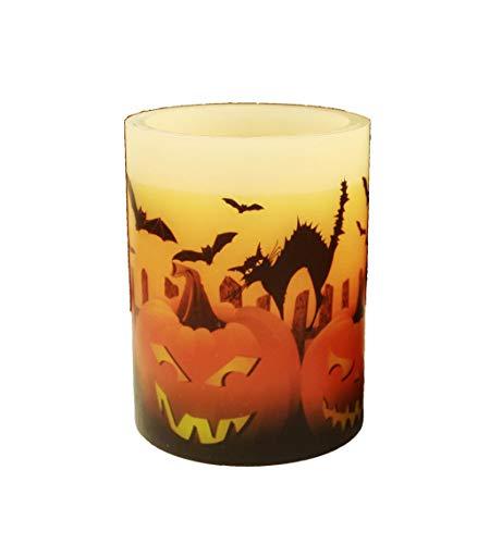 HAAC Led Kerze Leuchte Halloween Größe 10 cm x 7,5 cm Farbe orange/schwarz (Led Halloween Schwarz Kerzen)