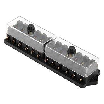 SODIAL (R) 12x fusible titular de la caja de fusibles para el coche auto 12V fusible lamina de plastico