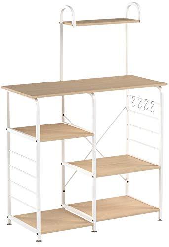 sogesfurniture Scaffale per Cucina in Acciaio Legno, 3+4 Ripiani Baker\'s  Rack Supporto per Forno a Microonde Storage Organizer, Acero 172-MP-BH