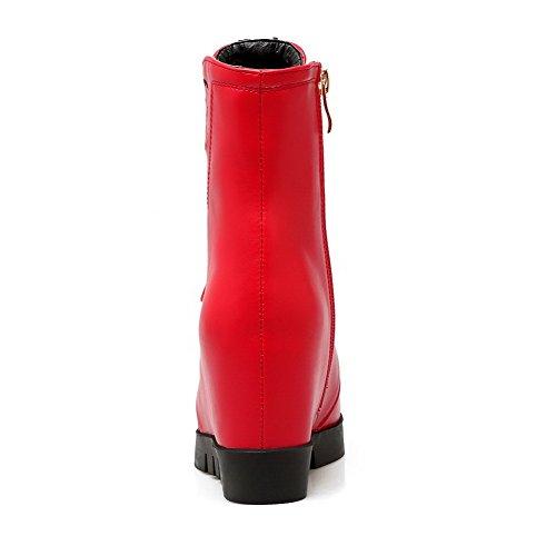 AgooLar Damen Reißverschluss Rund Zehe Hoher Absatz Niedrig Spitze Stiefel Rot