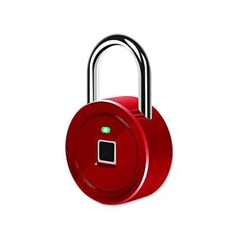 LIBWX Lucchetto per Impronte digitali, Serratura Senza Chiave Impermeabile Smart Lock IP65, Adatto per Porta di casa, Valigia, Zaino, Palestra, Bici, Ufficio,Rosso