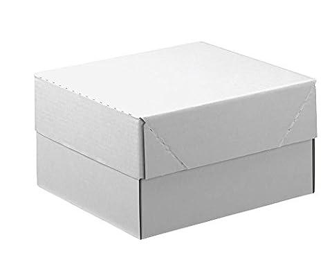 20 Kartons mit abnehmbarem Deckel 1-wellig / weiß / 33,8 x 23,8 x 16,7 cm (LxBxH)