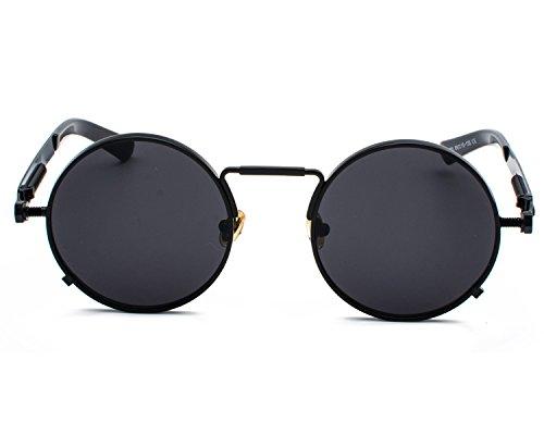 Red Peony Runde Steampunk Polarisierte Sonnenbrille Metall Rand Rahmen Flip up Linse für Herren Damen UV400 (C/schwarz/schwarz, Nicht polarisiert)