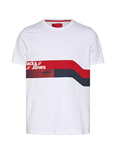 JACK & JONES Herren JCOSTAIRS Tee SS Crew Neck T-Shirt, Weiß (White Fit: Slim), Small (Herstellergröße: S)