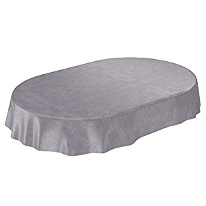 ANRO Wachstuchtischdecke Wachstuch Wachstischdecke Tischdecke Beton Grau Uni Urban Oval 200x140cm, Schnittkante, 140 x 200cm