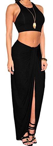 erdbeerloft - Damen elegantes Maxi Wasserfall Abend-Kleid, 2-teilig Rock und Bustier, One Size, Schwarz (Denim-kleid 2-teiliges)