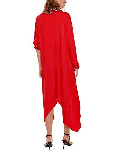 Cardigan Manche Longue Femme Vintage Veste en Tricot Pull Uni Maxi Longue Manteau Oversize Asymétrique Gilets Top Devant Ouvert Jaquette Automne a la Mode - Landove Rouge