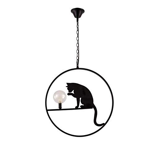 Kreative LED Schmiedeeisen Decke Pendelleuchte Postmodern Metall Runde Ring Hängelampe Tier E27 Edison Kronleuchter für Restaurant Küche Gang Studie Deckenbeleuchtung -
