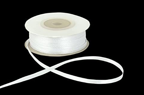 3mm x 50m White Double Sided Satin Ribbon