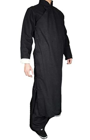 100% Cotton Black Kung Fu Martial Arts Tai Chi Long Coat Robe XS-XL or Tailor Custom Made+ Free