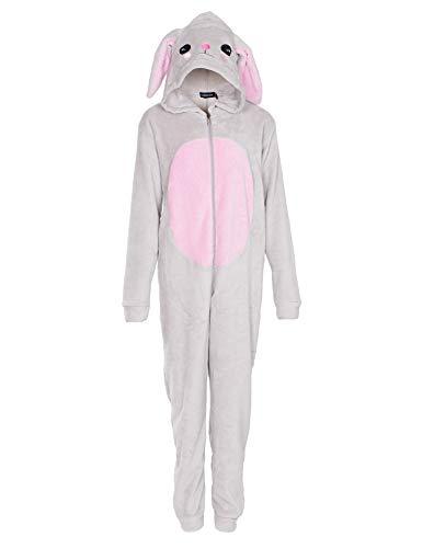 NOROZE Kinder Pyjama Combinaison Mädchen Damen Schlafanzüge Flausch Hase Regenbogen Einhorn Kapuze Alles in einem Mutter Tochter Passend Jumpsuit (9-10 Jahre, Hase Grau)