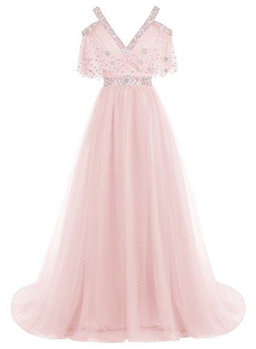 Bbonlinedress Robe de soirée et de bal à traîne Style Sexy Princesse Royale col V dentelle florale dos nu en tulle Rose