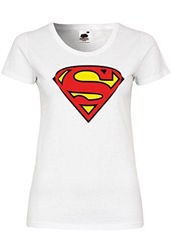 METRA M91 F288N Damen T-Shirt mit Motiv Superman, Größe:XL, Farbe:White