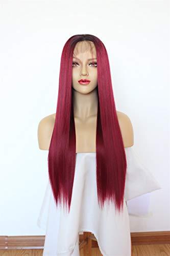 Rote Perücken Kostüm - 24 Zoll Rot Lace Front Perücken, GLAMADOR Rote Perücken Damen, Gerade Lange Rote Perücken, Cosplay Perücken Für Frauen, Synthetische Perücke Für Tägliches Kleid, Party, Kostüm Perücken