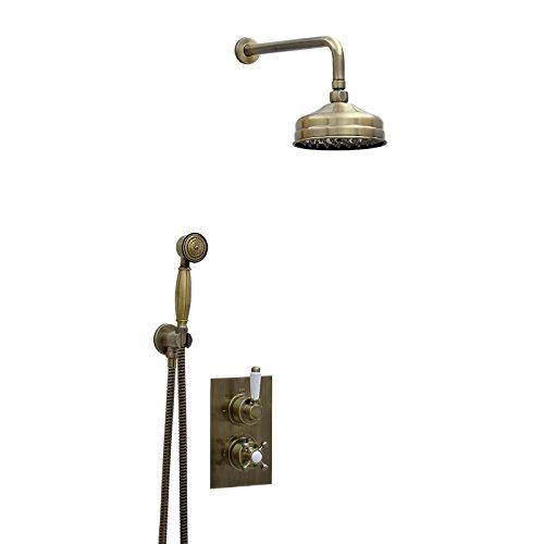 ENKI Unterputz-Duscharmatur Thermostat Kopfbrause 15cm Handbrause bronzefarbene -