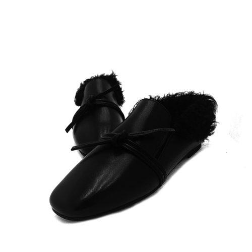SHOESHAOGE L'Automne Et L'Hiver Chaussures Femmes De Tête Carrée À Fond Plat Coton Cachemire Européen Chaussures Chaussures De Mouton Scoop Couleur unie