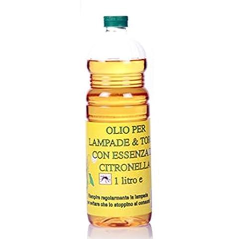 olio lampade stoppino torce citronella zanzare insetti giardino profumato 1 lt - Base Citronella Lampada