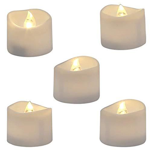 Tiunyeah LED-Teelichter, flackernd, batteriebetrieben, flammenlos, 12 Stück, 36 x 35 mm, elektrisch, künstliche Kerze in warmweiß und gewellt geöffnet, 12 Stück