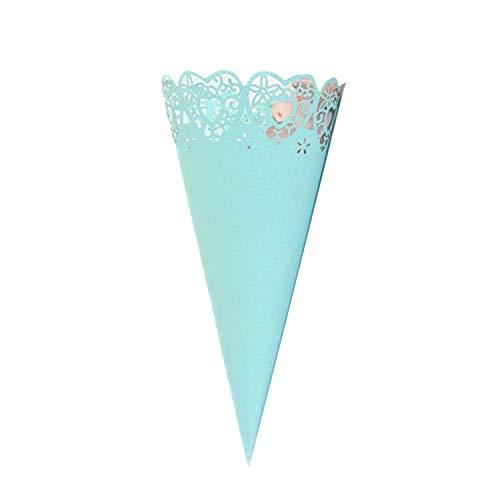 Konfetti-Zapfen Blütenblätter Süßigkeitenhalter Party Gastgeschenke Spitze Papier Zapfen Basteln Hochzeit Zubehör Einheitsgröße blau ()
