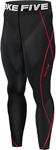 New 197 Black Skin Tights Compression Leggings Base Layer Running Pants Mens (L)