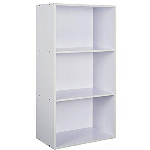 TOP-MAX 3 Fächern Bücherregal Standregal Aktenregal ordnerregal Holzregal Buchen Aufbewahrung Regale Ständer Schrank Weiß