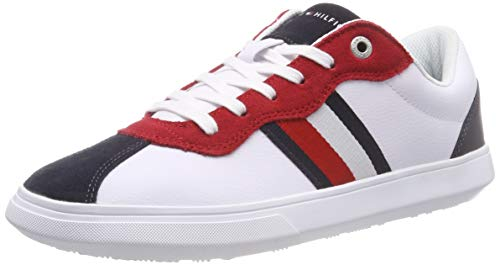 Tommy hilfiger essential corporate cupsole, scarpe da ginnastica basse uomo, bianco (rwb 020), 44 eu
