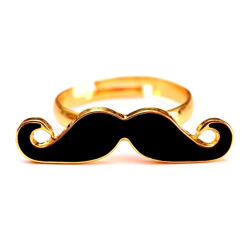 Schnurrbart Ring Mustache Einzelring Moustache Bart schwarz gold - verstellbare Größe - Party Beard Nerd