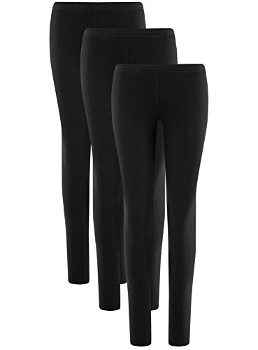 oodji Ultra Damen Leggings Basic (3er-Pack). Schwarz (2900N)