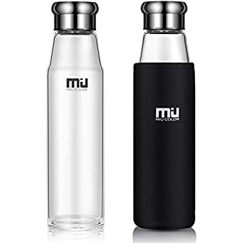 ef2476618794 MIU COLOR Water Bottle Glass Bottles 700ml Reusable BPA Free Borosilicate  Leakproof Flask with Neoprene Cover Hot Cold Drinks for Office Home Yoga  Gym ...
