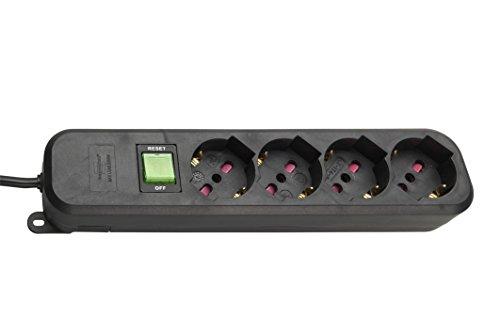 Brennenstuhl 1150749114Enchufe regleta Eco-Line con Interruptor Fusible 10A con Cable para Conectores eléctricas, Negro, 1.4m