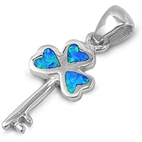 925 chiave in argento con pendente a forma di cuore con il laboratorio opale gemma