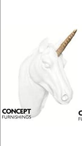 Unicorn Support mural Trophée Tête Sculpture à suspendre Doré à paillettes Détail