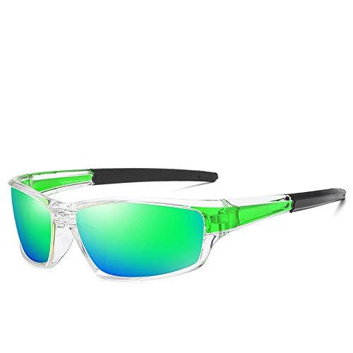 Teardrop Herren Sonnenbrille Klassisches Design UV Cut Cross & Brillenetui Polarisierte Sonnenbrille Brille (Color : Grün, Size : Kostenlos)