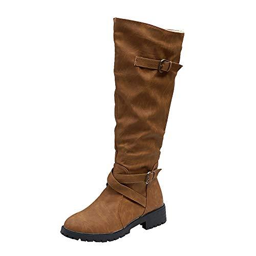 Gesteppte Faux Leder Schuhs (LILICAT_Schuhe Stiefeletten Damen Stiefel Knie hoch Kalb Biker Stiefel Damen Zip Punk Militär Kampf Armeestiefel Sportschuhe Mode Sneaker)