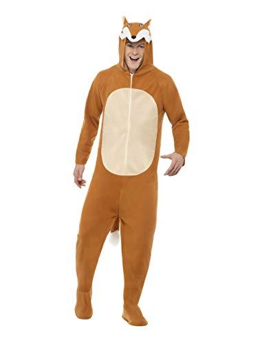 (Smiffys, Unisex Fuchs Kostüm, All-in-One mit Kapuze, Größe: L, 27867)