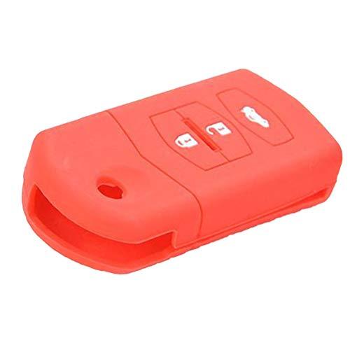 Vosarea 3 Tasten Flip Shell Keyless Entry Remote Case Zubehör Auto Fit für Mazda (Rot) (Rot-keyless-entry-remote)