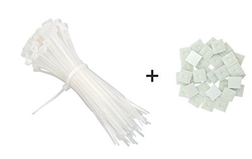 intervisio Set Kabelbinder 200mm x 2,5mm, weiß, 100 Stück und Klebesockel für Kabelbinder, 19mm x 19 mm, weiss - natur, 50 Stück (Kabelbinder Weiß)