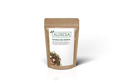 Papaya-grüner Tee (AURESA Grüner Tee Schätze des Südens   Mit Lychee Pfirsisch Geschmack   Teemischung aus süßlichem weißen Tee und lieblich herben Grüntee mit kandierten Früchten   Beutel)